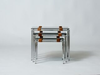 Vintage smoked-glass nesting tables