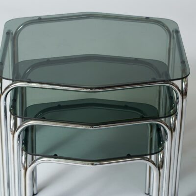 vintage-nesting-tables-smoked-glass
