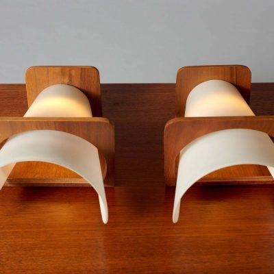 philips-wall-lamp-teak-glass-set