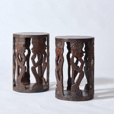 African-side-tables-vintage-set
